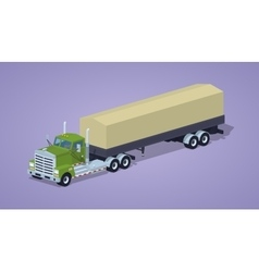 Low poly green heavy truck and trailer with the vector