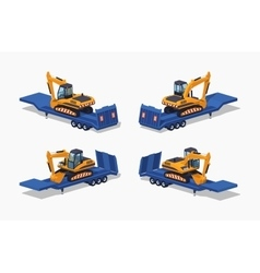 Low poly yellow excavator on the blue low-bed vector