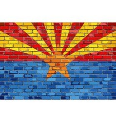 Flag of arizona on a brick wall vector