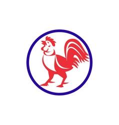 Chicken Rooster Crowing Circle Retro vector image