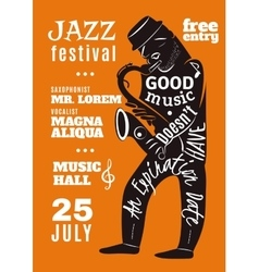Jazz music festival lettering silhouette poster vector