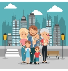 Parents kids and grandmother icon family design vector