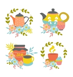 Hand drawn tea time compositions vector