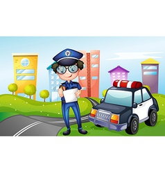 A policeman at the street vector image