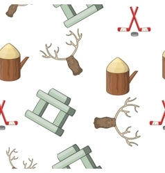 Attractions of Canada pattern cartoon style vector image