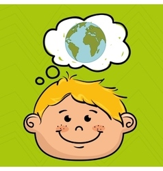 cartoon boy map global vector image