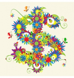 dollar sign floral design vector image