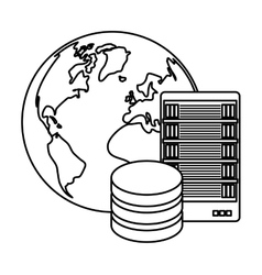 Figure global database server banner icon vector