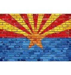 Flag of arizona on a brick wall vector