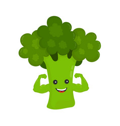 happy smile strong broccoli show biceps vector image vector image