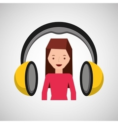 headphones music character girl pink shirt vector image