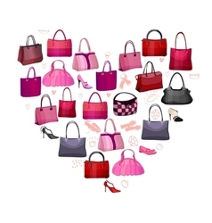 Heart made of woman bags vector image vector image