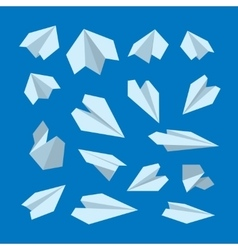 Icon set of origami plane collection vector