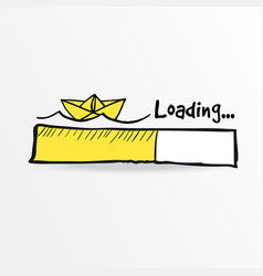 Loading bar with paper boat and sea waves summer vector