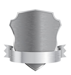 Metal shield with ribbon scratched metal texture vector