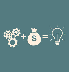 motivation concept gears plus money idea vector image