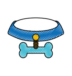 Pet collar with bone icon vector