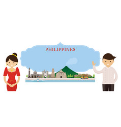 Philippines landmarks people traditional clothing vector
