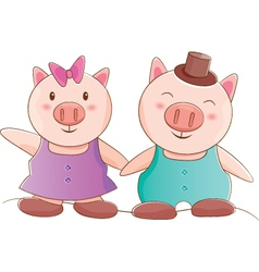 Pig couple vector