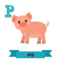 Pig p letter cute children animal alphabet in vector