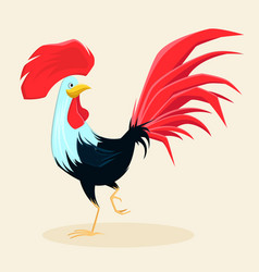 Proud red rooster with beautiful lush tail and vector