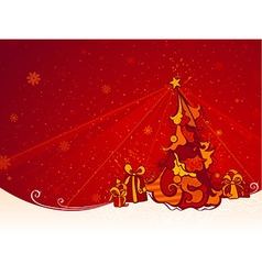 Red Christmas Tree Background vector image
