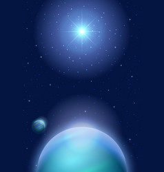 space background with planet and sun vector image
