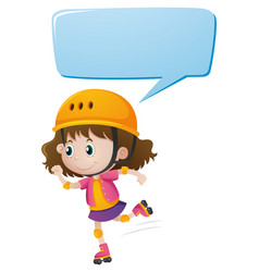 speech bubble template with girl skating vector image