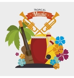 Tropical music instruments isolated icon design vector image vector image