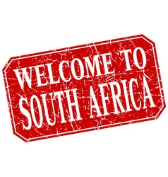 welcome to South Africa red square grunge stamp vector image