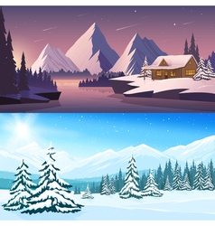 Winter Landscape Horizontal Banners vector image