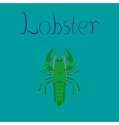 Flat on background seafood lobster vector