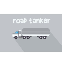 Gray road tanker of flat vector