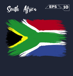 south africa flag brush strokes painted vector image