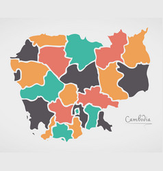 Cambodia map with states and modern round shapes vector