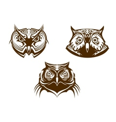 Owl heads mascots vector image