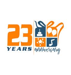 23 year gift box ribbon annivers vector