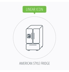 American fridge icon refrigerator with ice sign vector