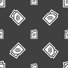 Text file icon sign seamless pattern on a gray vector