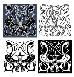 Heron birds with celtic knot patterns vector