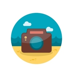 Photo camera flat icon with long shadow vector
