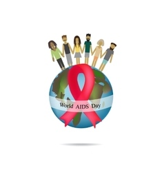 World aids day globe with red ribbon people hold vector