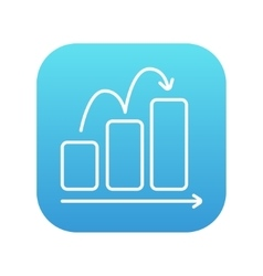 Bar chart upward line icon vector