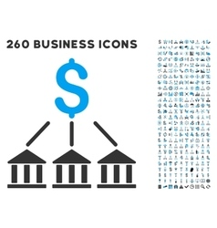 Bank association icon with flat set vector