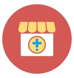 Drugstore flat round icon vector