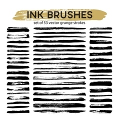 Large set of 53 different grunge ink brush strokes vector image