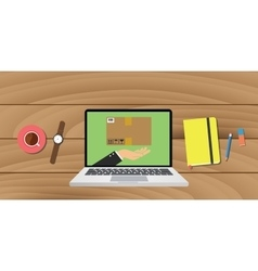 Online delivery ecommerce with laptop notes pencil vector