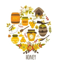 Honey hand drawn round design vector