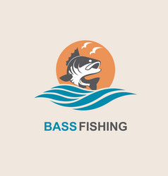Bass fish icon vector