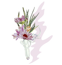 boutonniere with a pink chrysanthemum and shell vector image vector image